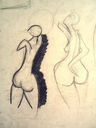 "Figure studies. 190. Charcoal on paper. 22' x30""."