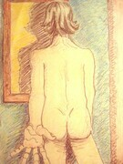 Self Portrait in mirror.. 1994. Pastel on rag paper.
