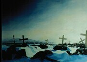 "Arctic Graveyard winter scene in Coral Harbour. Acrylic on canvas. 24"" x 36"". 1994"