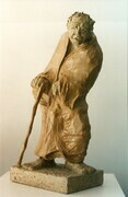 Old Man Walking. Paper Mache. h. 28 cm. 1994.  My Collection.