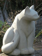 """Cat sitting"" cement h 30cm.  signed un numbered edition"